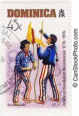 Dominica, -, hacia, 1976:, estampilla, impreso, Dominica,...