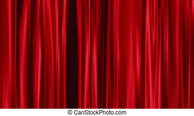 Red Curtains open, green background