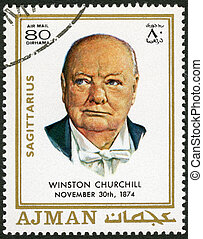 AJMAN - 1970: shows Winston Churchill (1874-1965) - AJMAN -...