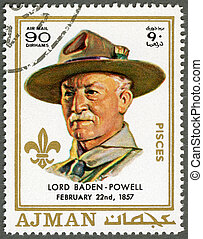 AJMAN - 1970: shows Robert Baden-Powell 1857-1941 - AJMAN -...