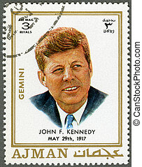 AJMAN - 1970: shows John F. Kennedy (1917-1963) - AJMAN -...