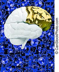 Creative  brain on clockwork backdrop