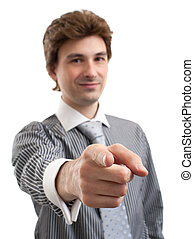 business man pointing at you