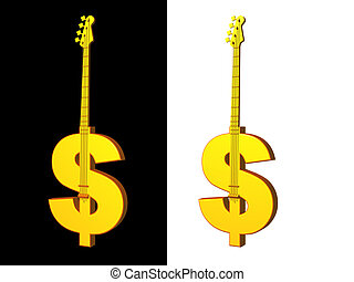 music business - golden dollar bass on black background - 3d...