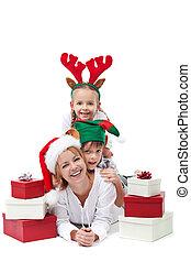 Happy santa with elf and reindeer - christmas people heap
