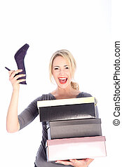 Blonde Woman Holding Boxes of Shoes - Happy young blonde...