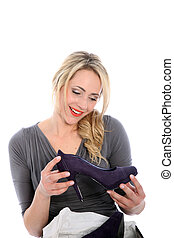 Happy Blonde Woman with Purple High Heel - Happy young...