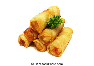 Spring Rolls - Half dozen of spring rolls isolated on white...