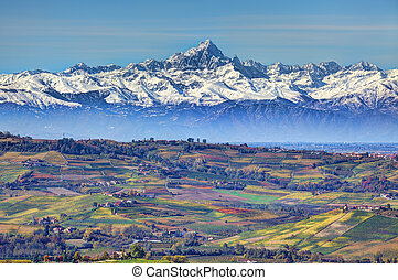 Hills and mountains Piedmont, Italy - Aerial view on hills...