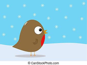 Christmas robin and snow