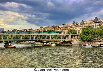 Pont de Bir-Hakeim bridge. Paris, France.