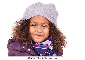 Little african asian girl wearing winter clothes