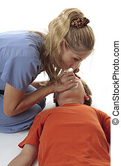 Emergency resuscitation - Nurse using a resuscitation mask...