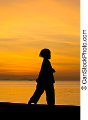 The boy - Silhouette taekwondo boy on the beach at dusk