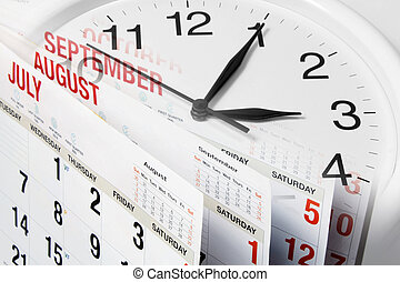 Calendar Pages and Clock - Composite of Calendar Pages and...