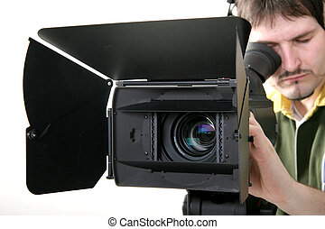 stand hd-camcorder - cameraman work with stand...