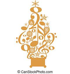 Musical Christmas tree - illustration of Christmas tree made...