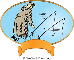 Vintage label on fishing Fisherman with a fishing rod Vector...