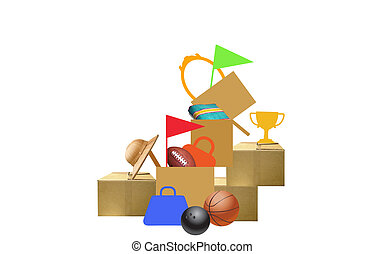 Garage sale - illustration of a pile of household items with...