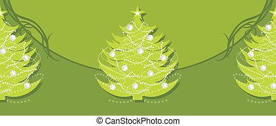 Border with Christmas fir tree