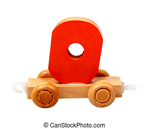 isolated nil - isolated educational wooden toy car with red...