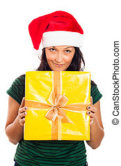 Happy Christmas woman with gift