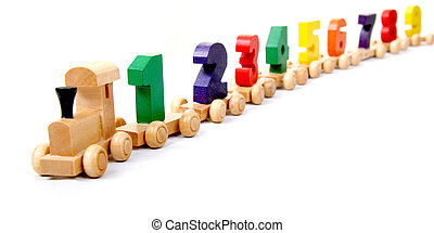 wooden numbers train - wooden educational toy train with...