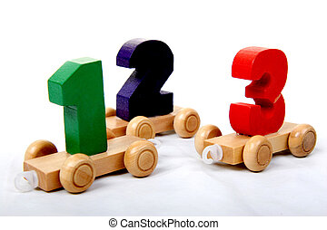 wooden numbers one two three - wooden educational toy train...