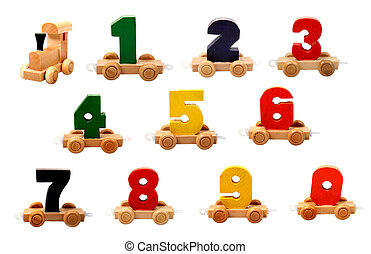 isolated wooden numbers - isolated educational wooden toy...
