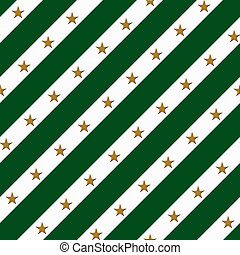 Green and White Striped Fabric Background with Gold Stars...
