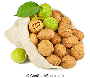 Sack of whole walnut and green walnut fruit