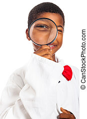 Clever scientist child exploring - Happy clever scientist...