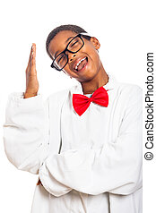 Funny clever boy gesturing - Funny clever scientist school...