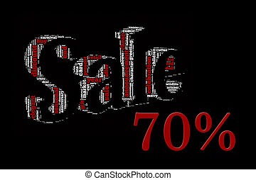 Sale info-text graphics and arrangement concept on black background (word cloud)