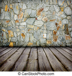 stone wall and timber floor - background stone wall and...