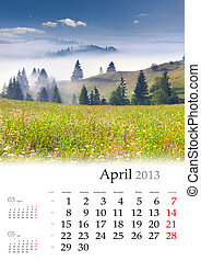 2013 Calendar. April. Beautiful spring landscape in the...