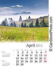 2013, Calendário, abril, bonito, primavera, paisagem,...