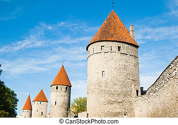 Towers of a fortification of Old Tallinn