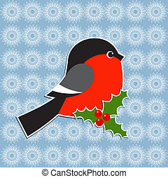 Bullfinch and Holly berry Vector Christmas card