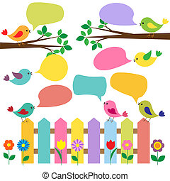 Colorful birds with bubbles for speech