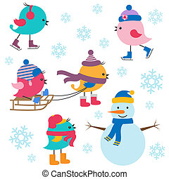 Cute birds winter Vector set