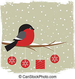Winter card with bullfinch