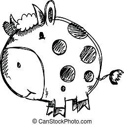 Sketch Doodle Cow Animal Vector
