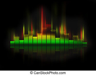 equalizer - glowing equalizer on black background