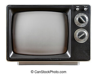 Vintage Television with knobs and buttons isolated over a...