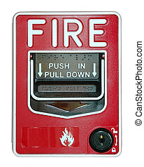 Fire Alarm - Fir alarm with handle islolated over a white...