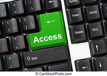 Keyboard green key Access business concept