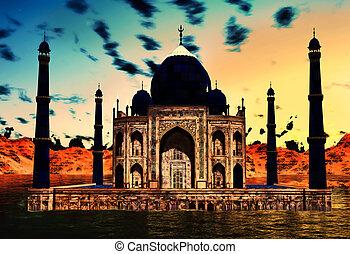 Taj Mahal - Famous Taj Mahal at night