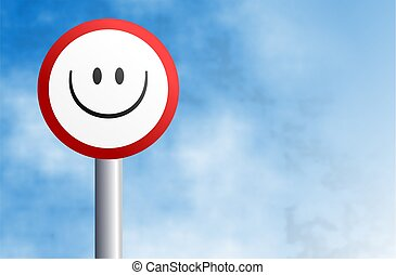 smilie sign - traffic and street sign with smilie face