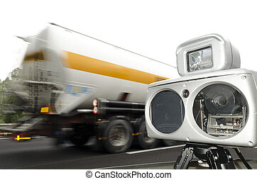 speed camera and truck on road - speed camera and a speed...